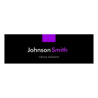 Library Assistant - Violet Purple Compact Double-Sided Mini Business Cards (Pack Of 20)
