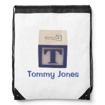 Library bag for child blue T custom named