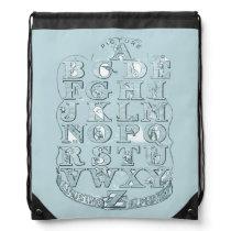 Library bag Powder Blue Vintage Alphabet