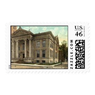 Library, Binghamton NY Vintage 1909 stamp