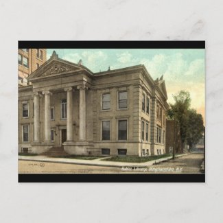 Library, Binghamton NY Vintage 1909 postcard