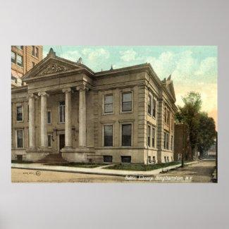 Library, Binghamton NY Vintage 1909 print