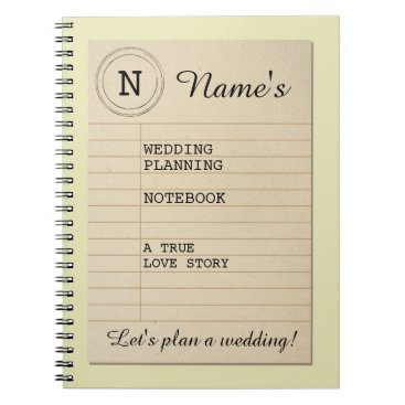Bride Themed Library Book Author Notebook Wedding Planning