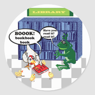 LIBRARY BOOK CHOOK JOKE CLASSIC ROUND STICKER