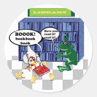 LIBRARY BOOK CHOOK JOKE CLASSIC ROUND STICKER