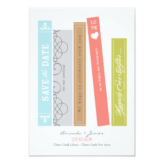 Library Book Save the Date 5x7 Paper Invitation Card