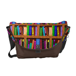 Library Book Shelf Pattern for Bookworms Readers Courier Bag