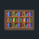 """Library Book Shelf Pattern for Bookworms Readers Trifold Wallet<br><div class=""""desc"""">The bright library bookshelf pattern on this beautiful product is perfect for bibliophiles / proud bookworms. The pattern repeats, with about 25 books total. Some lean, some stand up straight, and they&#39;re all brightly colored and sitting on a shelf frame with a wood grain look. It&#39;s the perfect design for...</div>"""