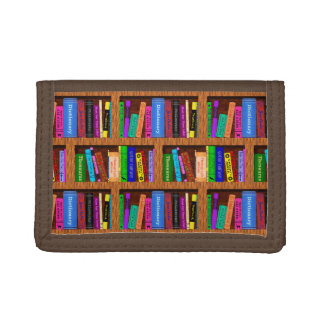 Library Book Shelf Pattern for Bookworms Readers Trifold Wallets