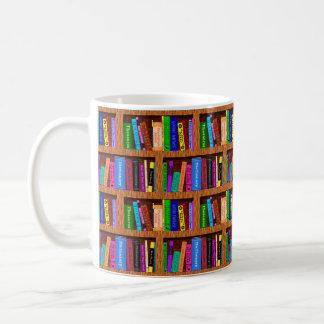 Library Book Shelf Pattern for Readers Coffee Mug
