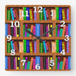 Library Book Shelf Pattern for Readers Square Wallclocks