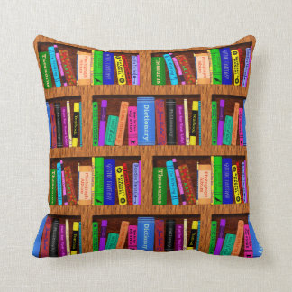 Library Book Shelf Pattern for Readers Throw Pillow
