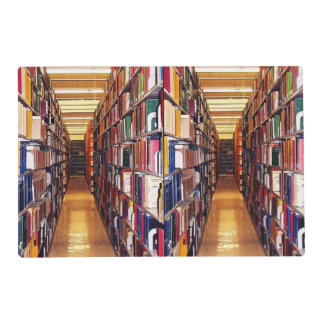 Library Book Shelves Abstract Laminated Placemat