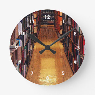 Library Book Shelves Abstract Wall Clock