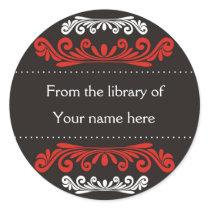 Library Bookplates- Decorative Pattern Black Classic Round Sticker