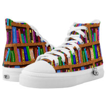 Library Books Bookshelf Pattern Colorful Readers High-Top Sneakers