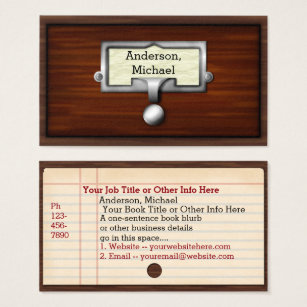 Librarian business cards templates zazzle library books card catalog writer author librarian colourmoves