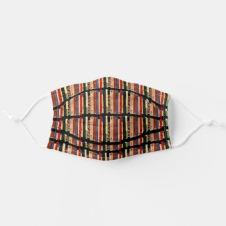 Library Books Curvy Striped Pattern Cloth Face Mask