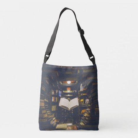 Library Books Shelves Open Book Read Crossbody Bag