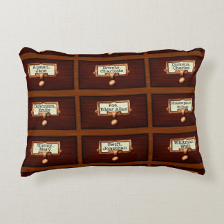 Library Books Wood Card Catalog Drawers Reading Accent Pillow