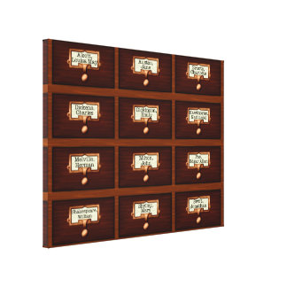 Library Books Wood Card Catalog Drawers Reading Canvas Print