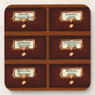 Library Books Wood Card Catalog Drawers Reading Coaster
