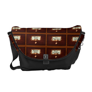 Library Books Wood Card Catalog Drawers Reading Courier Bag