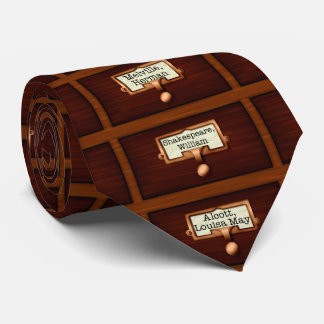 Library Books Wood Card Catalog Drawers Reading Neck Tie