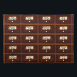"""Library Books Wood Card Catalog Drawers Reading Placemat<br><div class=""""desc"""">This fun, novelty library card catalog pattern is for any reading fan. The design looks like an antique wood book card catalog filing system, complete with drawers that have bronze slots and handles and a slightly crinkled paper with a different famous author&#39;s name on each (some names may repeat). This...</div>"""