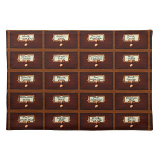 Library Books Wood Card Catalog Drawers Reading Placemat
