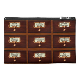 Library Books Wood Card Catalog Drawers Reading Travel Accessory Bag
