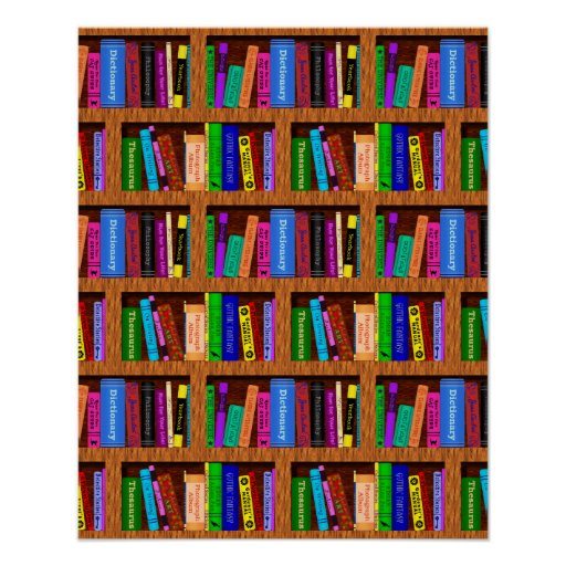 Library Bookshelf Background Pattern for Readers Poster