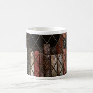 Library bookshelf coffee mug