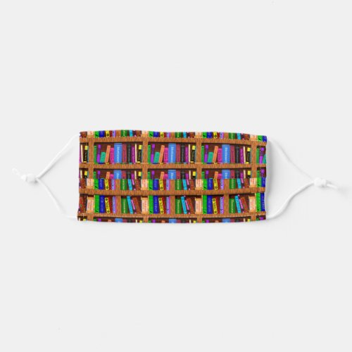 Library Bookshelf Colorful Books Reader Pattern Adult Cloth Face Mask