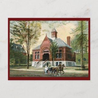 Library, Brattleboro, VT 1910 Vintage postcard