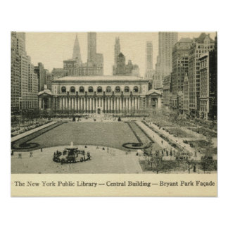 Library Bryant Park New York City Vintage Posters