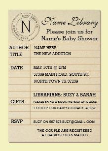 Library invitations zazzle library card baby shower yellow invite invitation filmwisefo