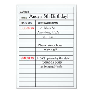 Library Card Birthday Party Invitations