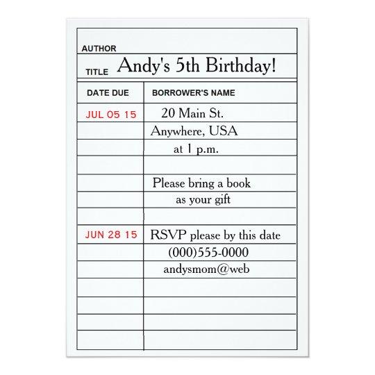 Library Card Birthday Party Invitations
