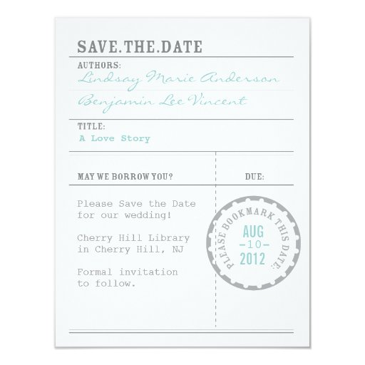 Library Card Save the Date Custom Invites