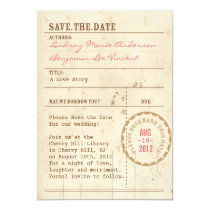 """Library Card Save the Date 4.25"""" X 5.5"""" Invitation Card"""