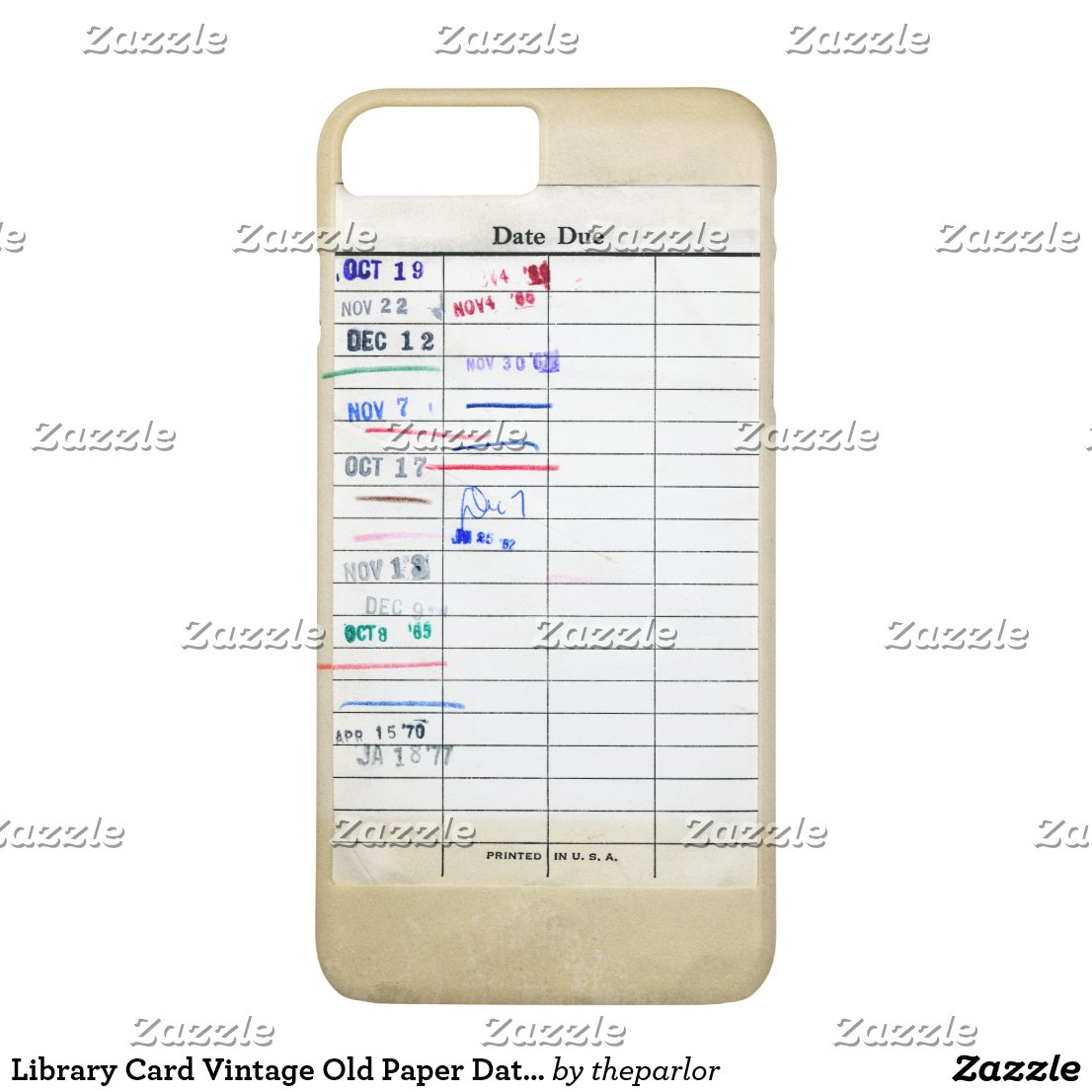 Library Card Vintage Old Paper Date Due Stamped iPhone 8 Plus/7 Plus Case