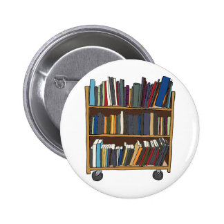 Library Cart Pinback Button
