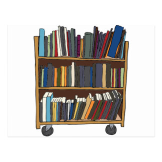 Library Cart Postcard