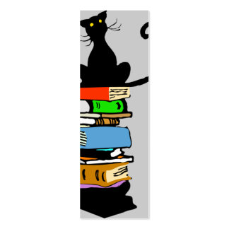 Library Cat (Book Mark) Double-Sided Mini Business Cards (Pack Of 20)