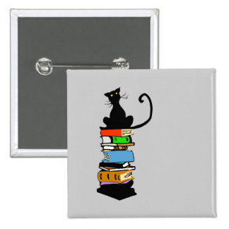 Library Cat Pinback Button