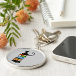 Library Cat Silver-Colored Round Keychain