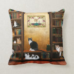 Library cats pillow