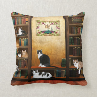 Library cats throw pillows