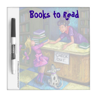 Library Check Out Art Books to Read Dry Erase Board